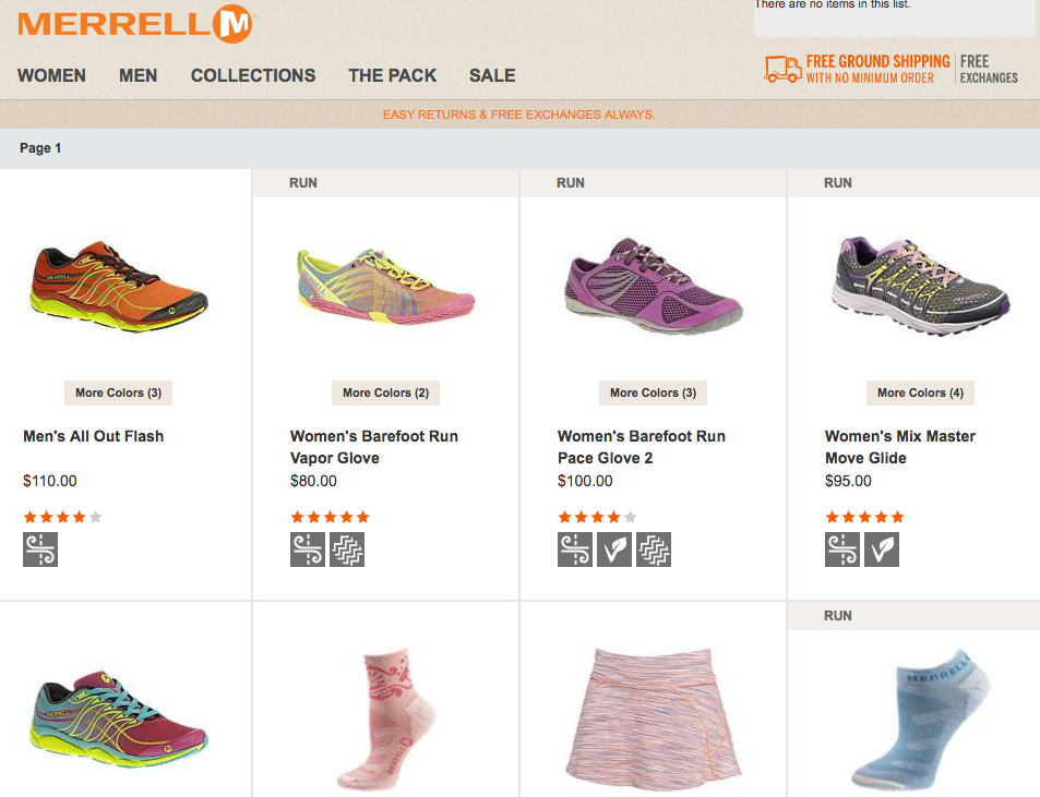 This Week Under the Site Search Scanner - Merrell.com